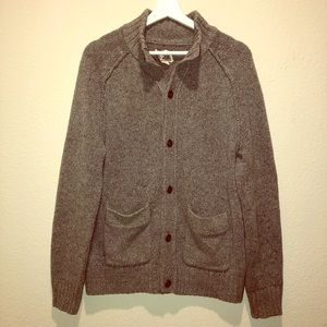 Chunky Gray Button-Up Ribbed Cardigan